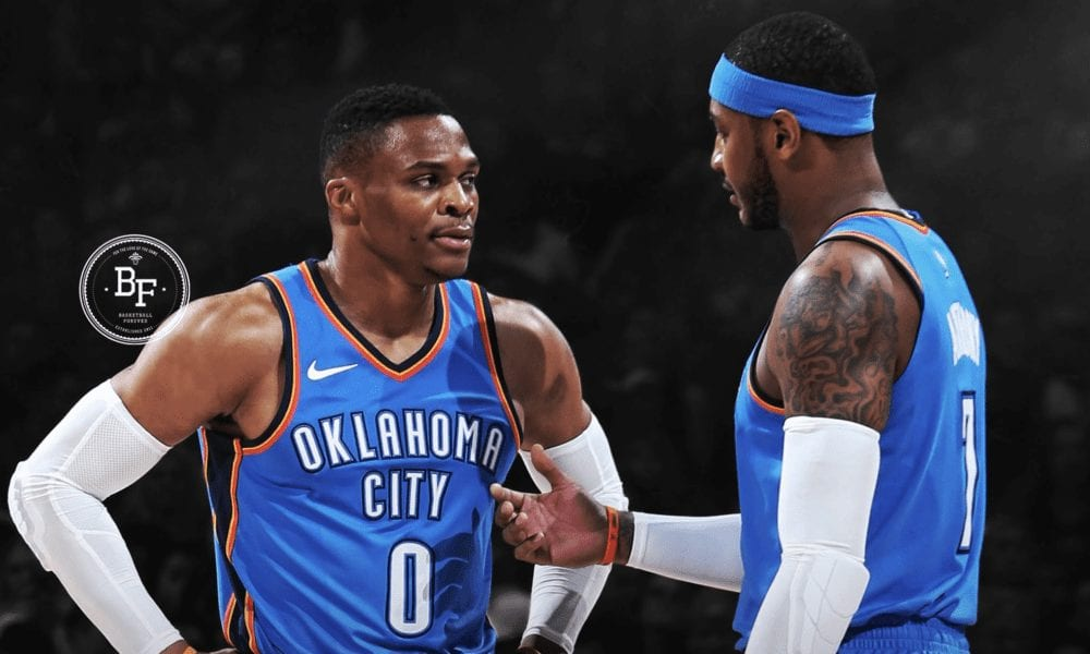 Carmelo Anthony Jokes That Russell Westbrook Chases Stats, 'Steals Rebounds'