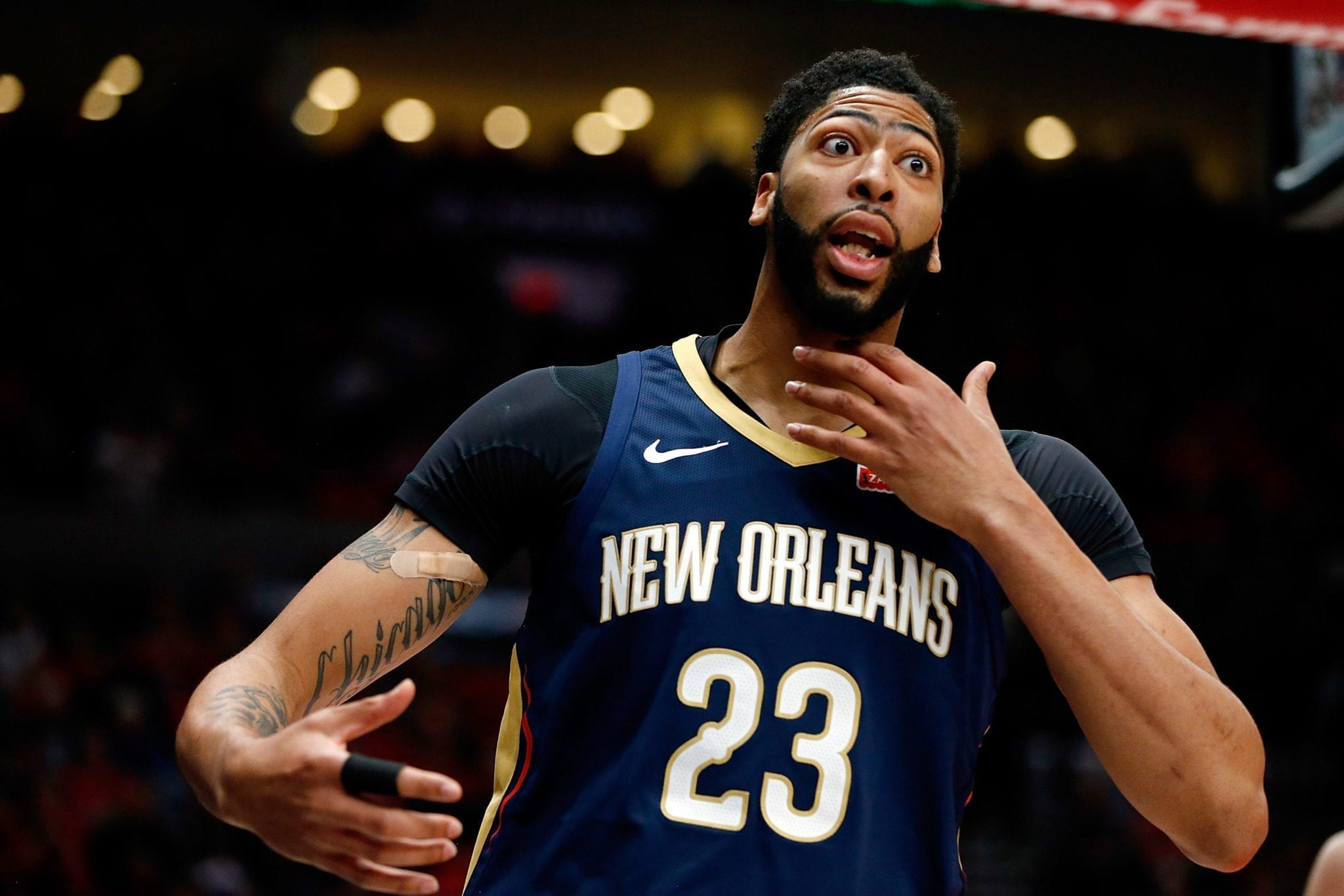 PORTLAND, OR - APRIL 17: Anthony Davis #23 of the New Orleans Pelicans complains to the official against the Portland Trail Blazers during Game One of the Western Conference Quarterfinals during the 2018 NBA Playoffs at Moda Center on April 17, 2018 in Portland, Oregon. NOTE TO USER: User expressly acknowledges and agrees that, by downloading and or using this photograph, User is consenting to the terms and conditions of the Getty Images License Agreement. (Photo by Jonathan Ferrey/Getty Images)