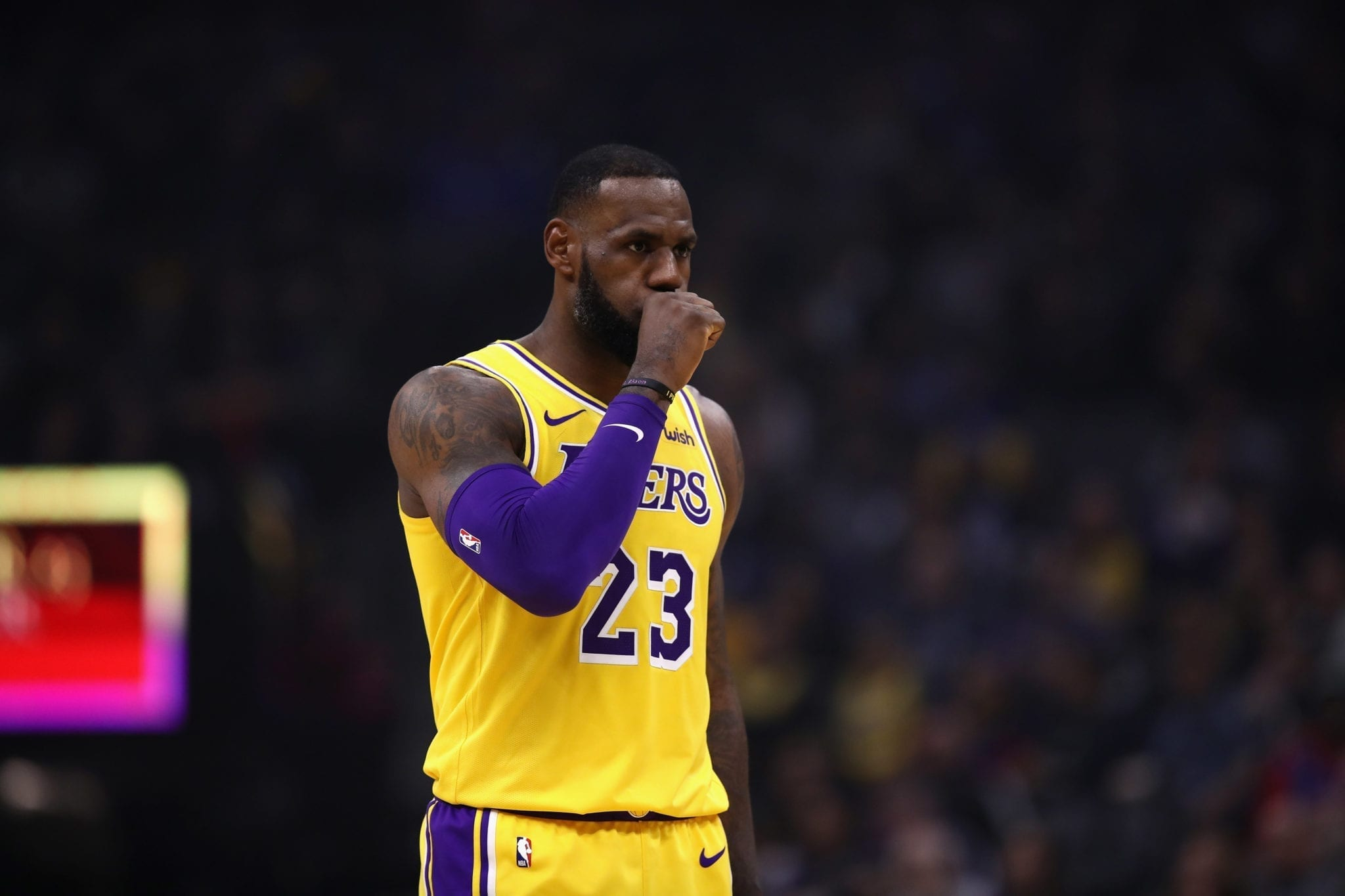 SACRAMENTO, CA - NOVEMBER 10: LeBron James #23 of the Los Angeles Lakers stands on the court during their game against the Sacramento Kings at Golden 1 Center on November 10, 2018 in Sacramento, California. NOTE TO USER: User expressly acknowledges and agrees that, by downloading and or using this photograph, User is consenting to the terms and conditions of the Getty Images License Agreement. (Photo by Ezra Shaw/Getty Images)