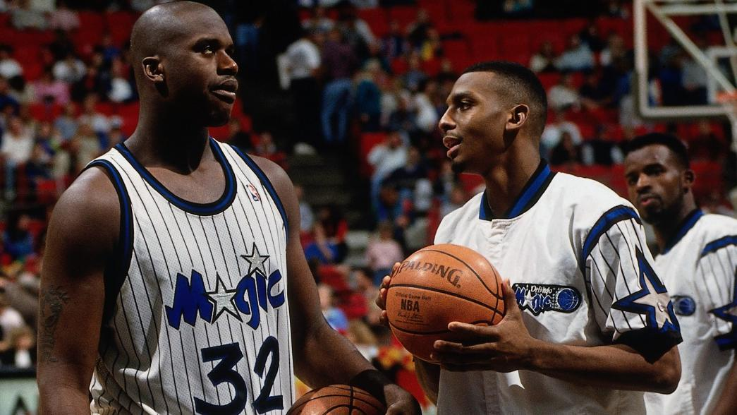 Penny Hardaway and Shaquille O'Neal as teammates