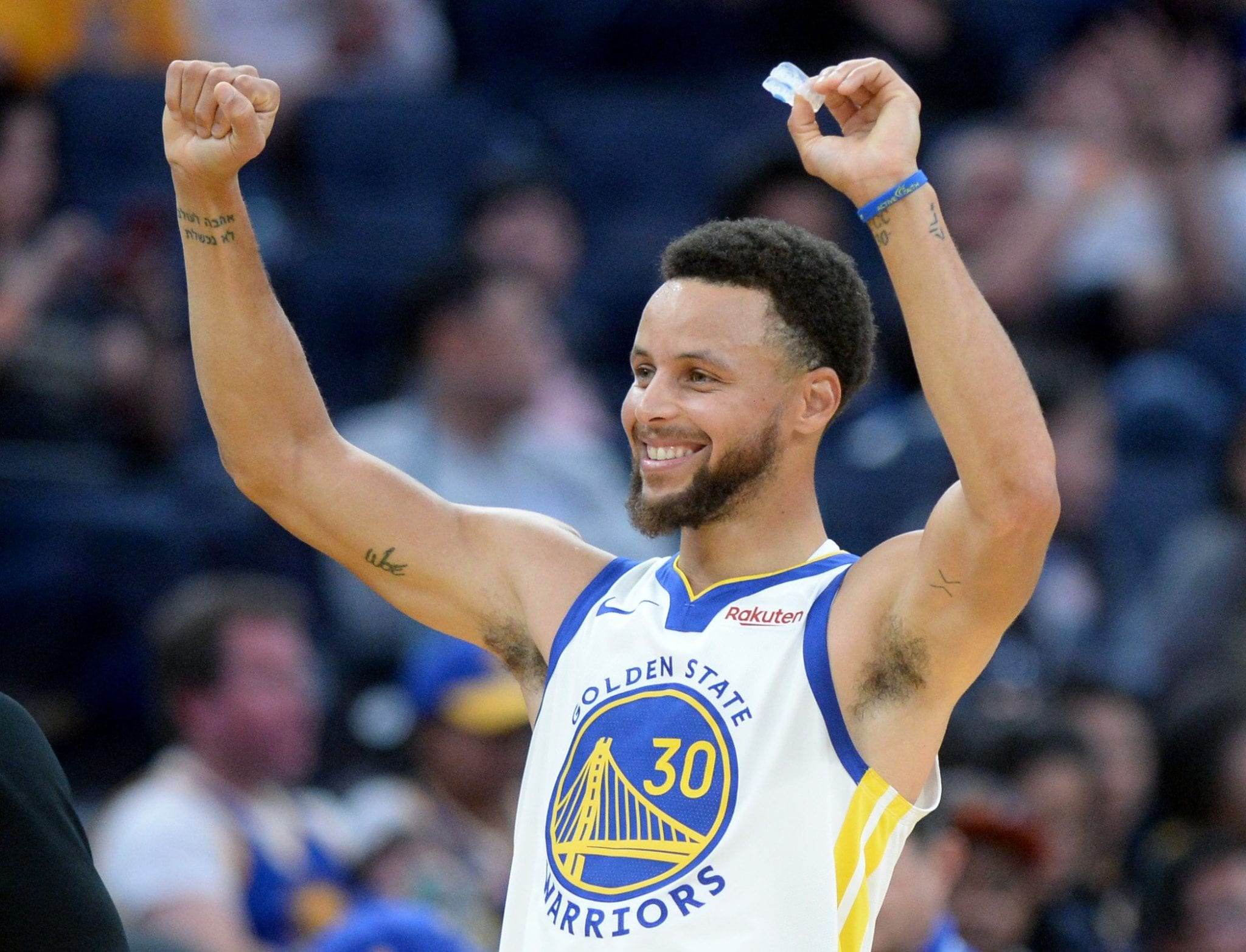 Golden State Warriors' Stephen Curry (30) celebrates the Warriors winning a challenge of a referees call in the second period of their NBA basketball game against the Minnesota Timberwolves at the Chase Center in San Francisco, Calif., on Thursday, Oct. 10, 2019. (Doug Duran/Bay Area News Group)