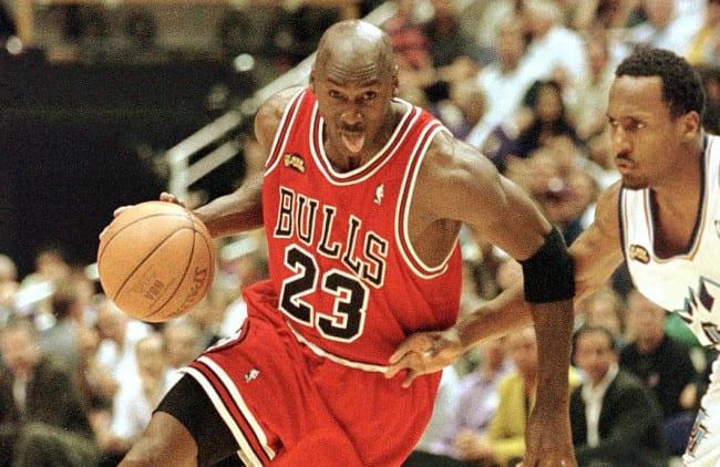 Michael Jordan playing for the Bulls.