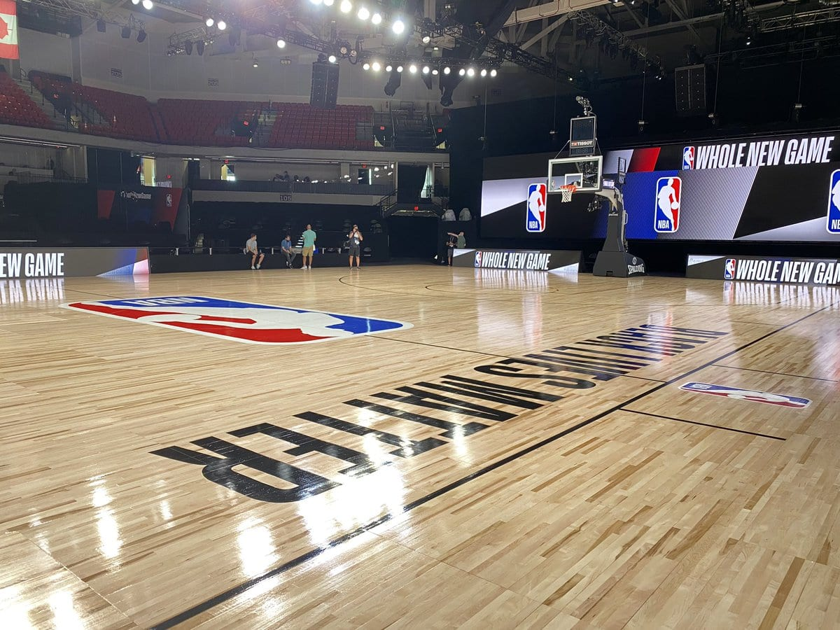 NBA court with Black Lives Matter
