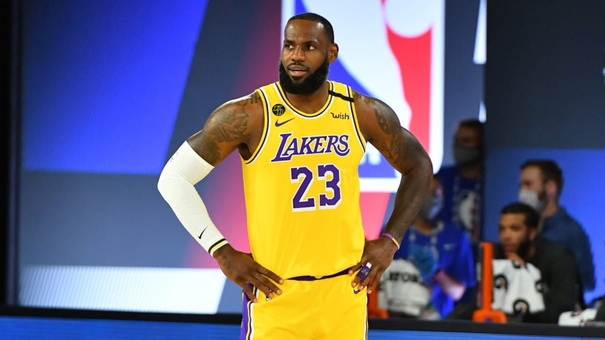 LeBron James of the Lakers during Game 1 of the NBA Finals