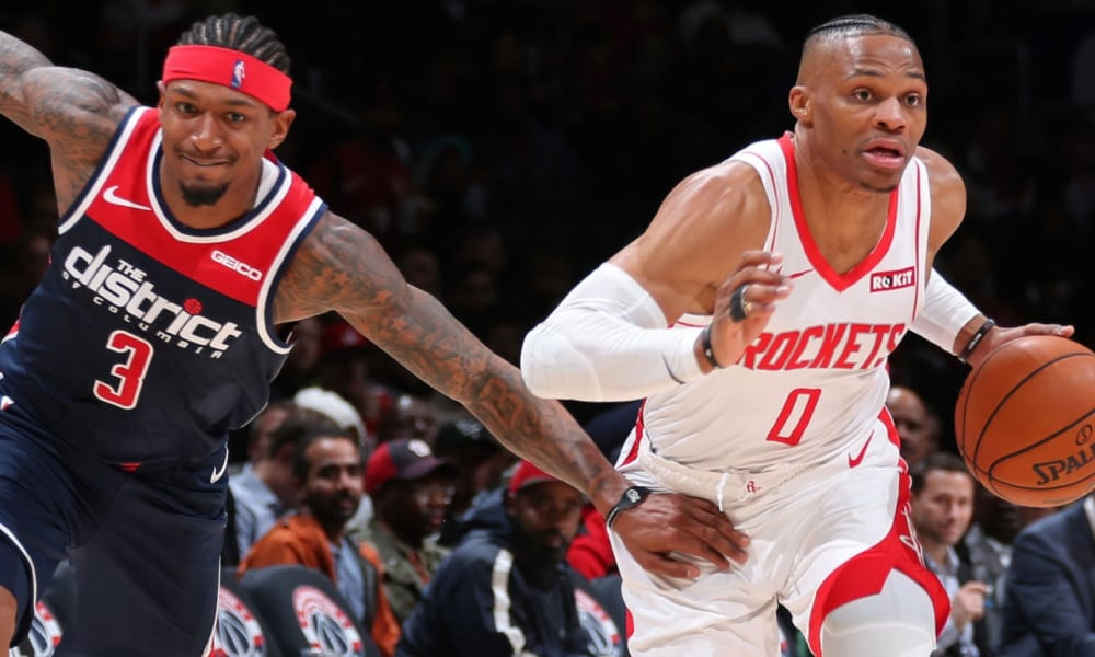 Bradley Beal and new teammate Russell Westbrook of the Wizards