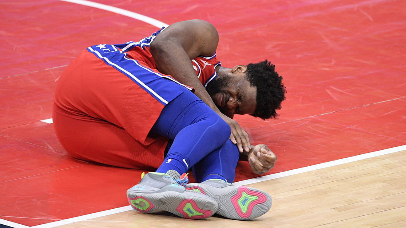 Sixers star Joel Embiid in pain