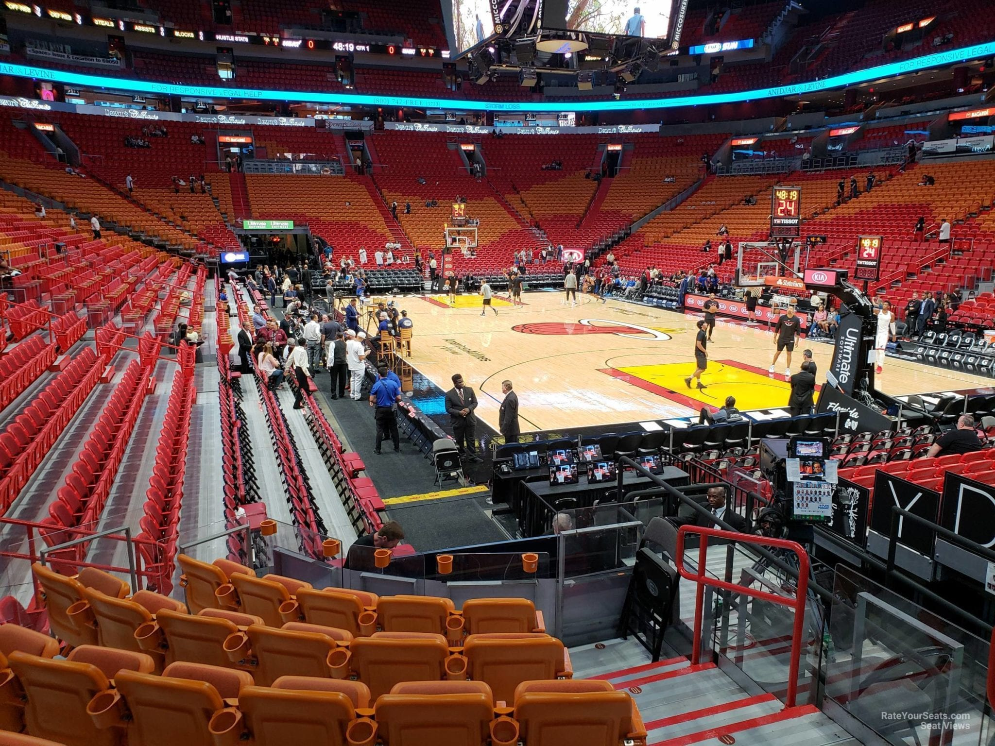 The lower bowl of the American Airlines Arena, home of the Miami Heat