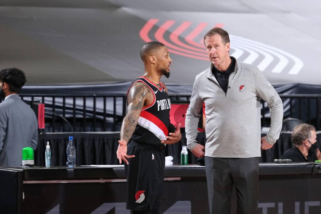 Damian Lillard with former coach Stotts