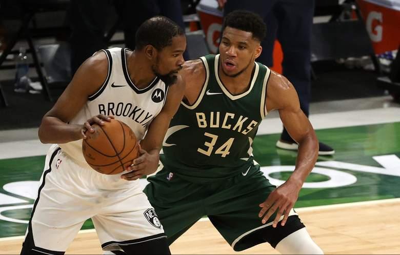 Milwaukee Bucks Giannis Antetokounmpo vs Brooklyn Nets Kevin Durant