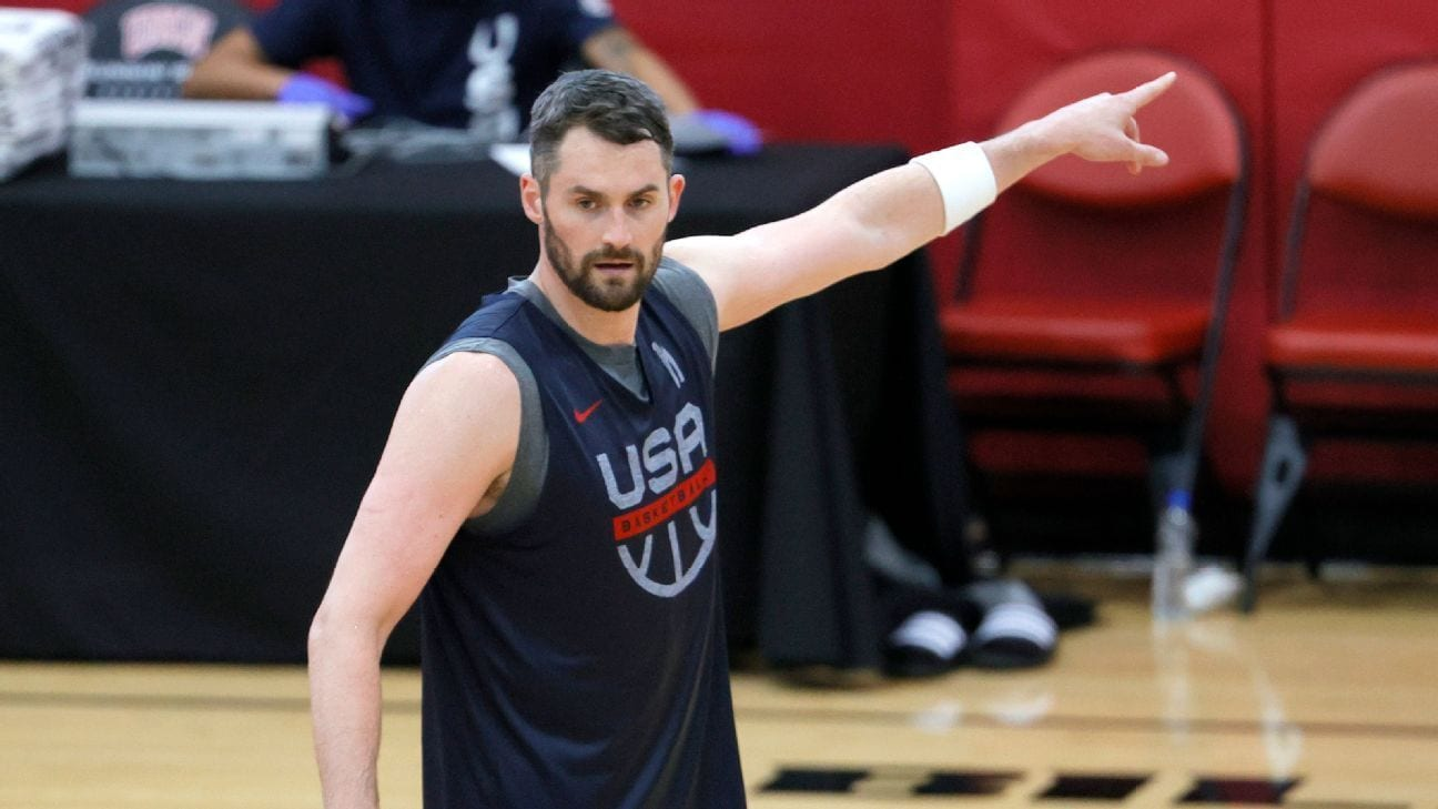 Kevin Love of the Cavs with Team USA